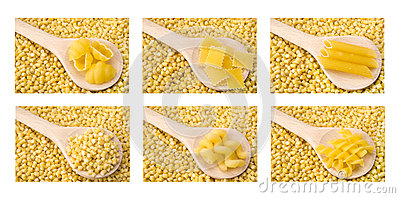 Raw pasta collage