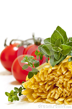 Raw Pasta with Herbs and Tomatoes