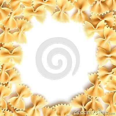 Raw pasta on white frame background