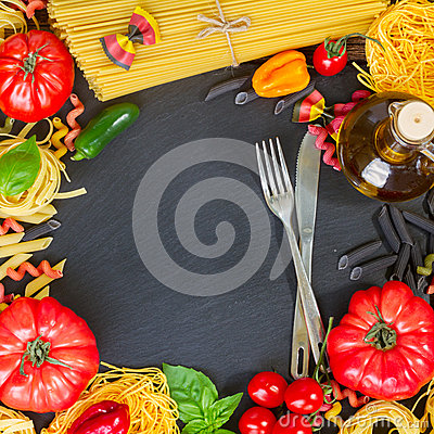 Free Raw Pasta With Ingridients On Black Board Royalty Free Stock Images - 57868839