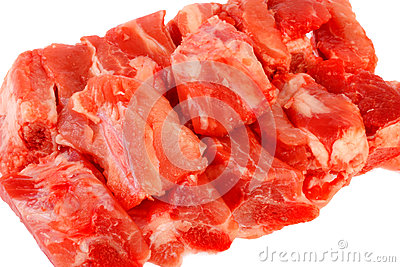 Raw of pork rib on white