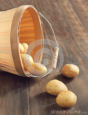 Free Raw Potatoes In A Basket Royalty Free Stock Photos - 27392298