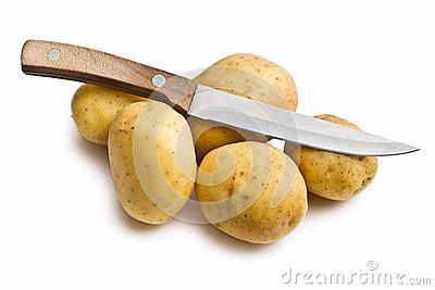 Raw potatoes with knife