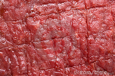 Raw red beef steak