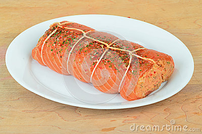 Preparing Stuffed Salmon