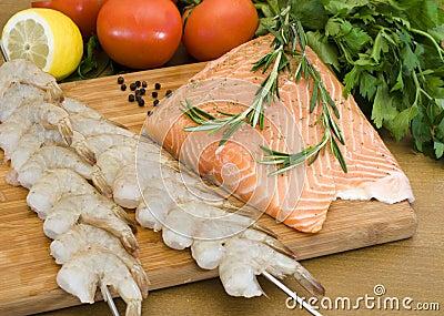 Raw salmon and shrimp