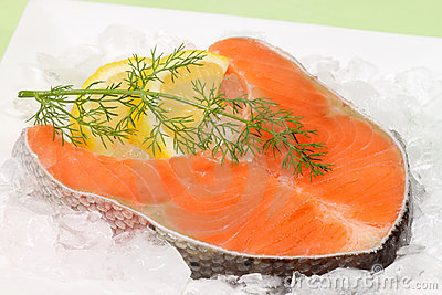 Raw salmon trout steak