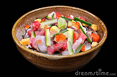 Raw seafood mix with zucchini