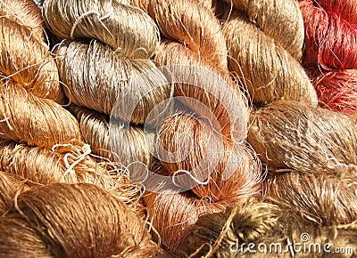 Raw silk thread.