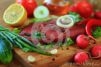 Raw steak with spices