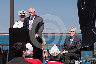 Ray Mabus and Pat Quinn at USS Illinois Ceremony Editorial Stock Image
