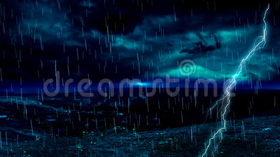 Raya de la lluvia del relámpago