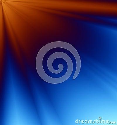 Rayos azules y anaranjados del fondo de la luz