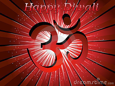 Rays background with isolated aum for happy diwali