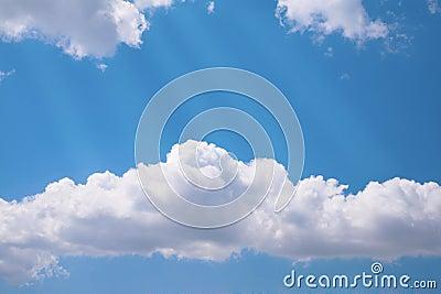 Rays on cloudy sky