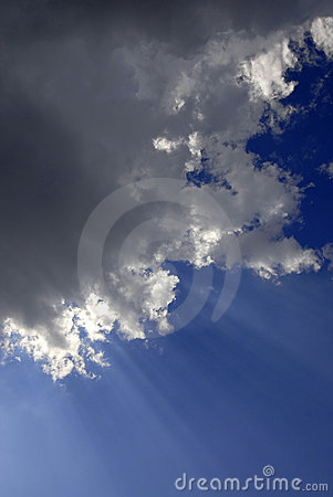 Rays of Light in Blue Sky