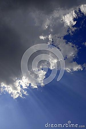 Rays of Light in Blue Sky