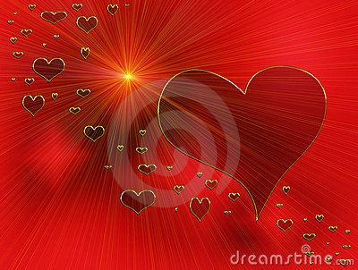 Rays of love, red hearts and golden rays