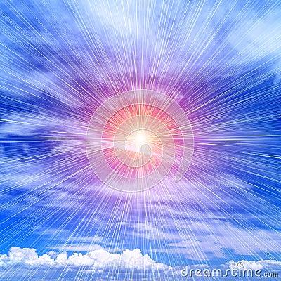 Free Rays Of The Sun On The Blue Sky Stock Photos - 23691343