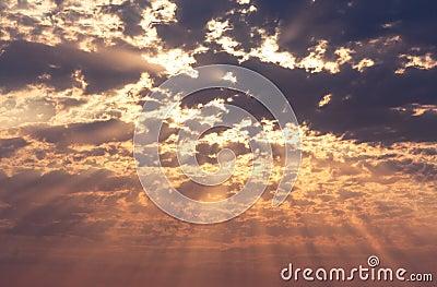 Rays of the sun on sky