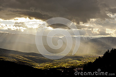 Rays of sun on the valley