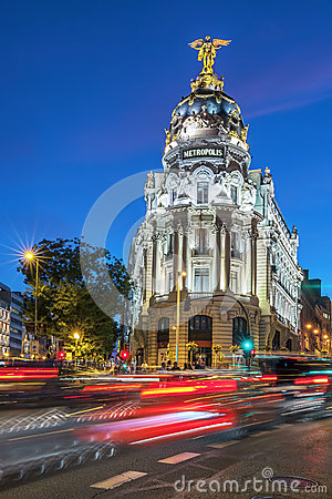 Rays of traffic lights on Gran via street Editorial Stock Photo