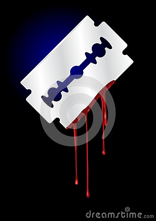Razor Blade with Blood - vector