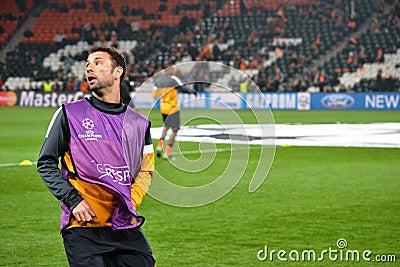 Razvan Rat before the match of the Champions League Editorial Stock Photo