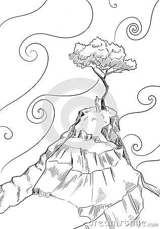 Árbol solo y cielo mágico