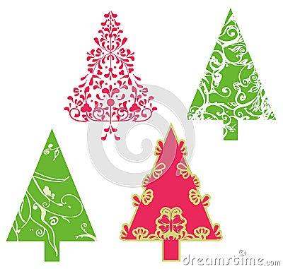 Árboles del vector de la Navidad