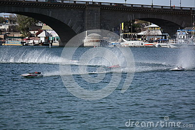 RC Boat Racing by the Bridge Editorial Image