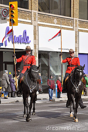 RCMP riding in Saint Patrick s Day parade Editorial Image