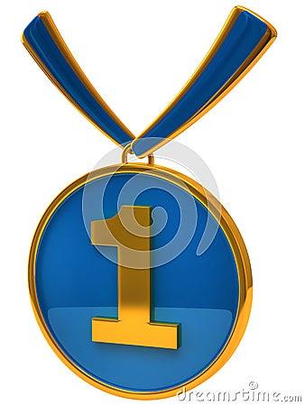 Récompense bleue de médaille