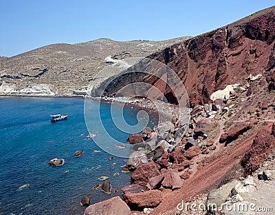 Röd strand - den Santorini ön - Grekland