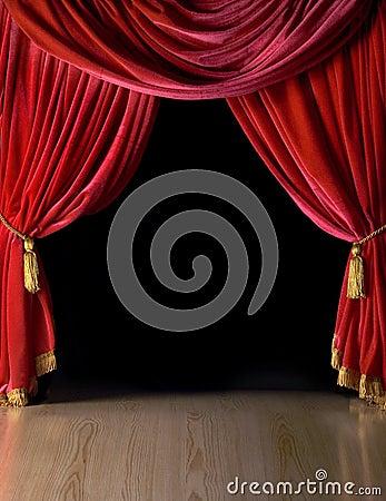 Röd teatersammet för courtains