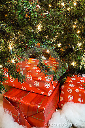 Re-used Christmas presents under the tree
