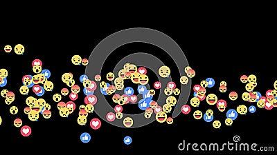 Reações vivas de Facebook - misturadas do emoji das reações em fluir a vídeo em direto no canal alfa