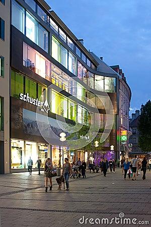 Área peatonal en Munich Foto editorial