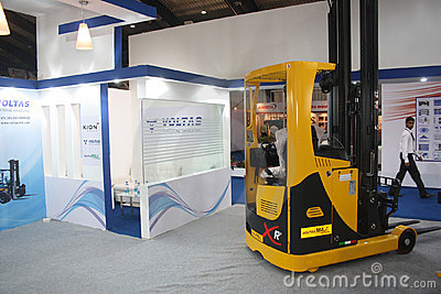 Reach Truck on India Warehousing & Logistics Show Editorial Stock Image
