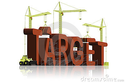 Reaching goal succeed achieve target icon 3D text