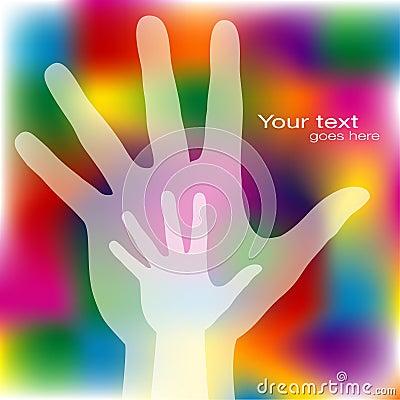 Reaching hands design.