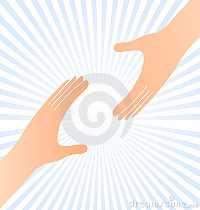 Reaching hands help concept