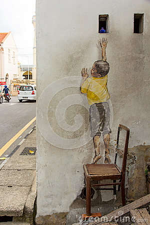 Reaching Up Street Art at George Town Editorial Stock Photo