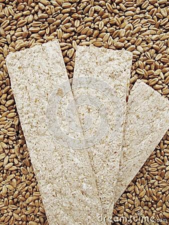 Вread crisps and grains of wheat