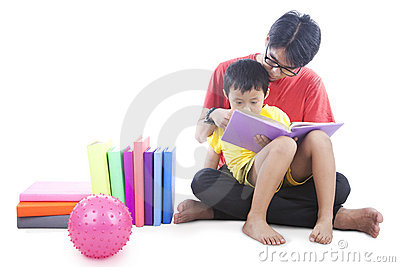 Reading a book with dad
