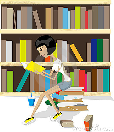 Reading book in library