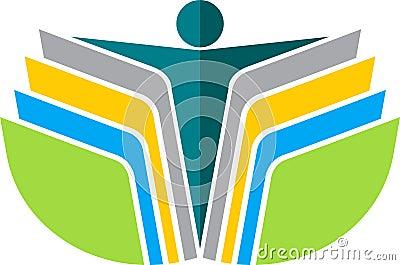 Reading book man logo