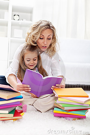 Reading a book with mom