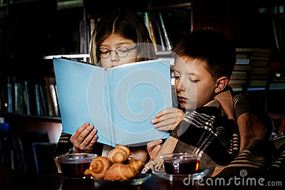 Reading book at night