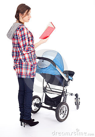 Reading book young mother with baby pram